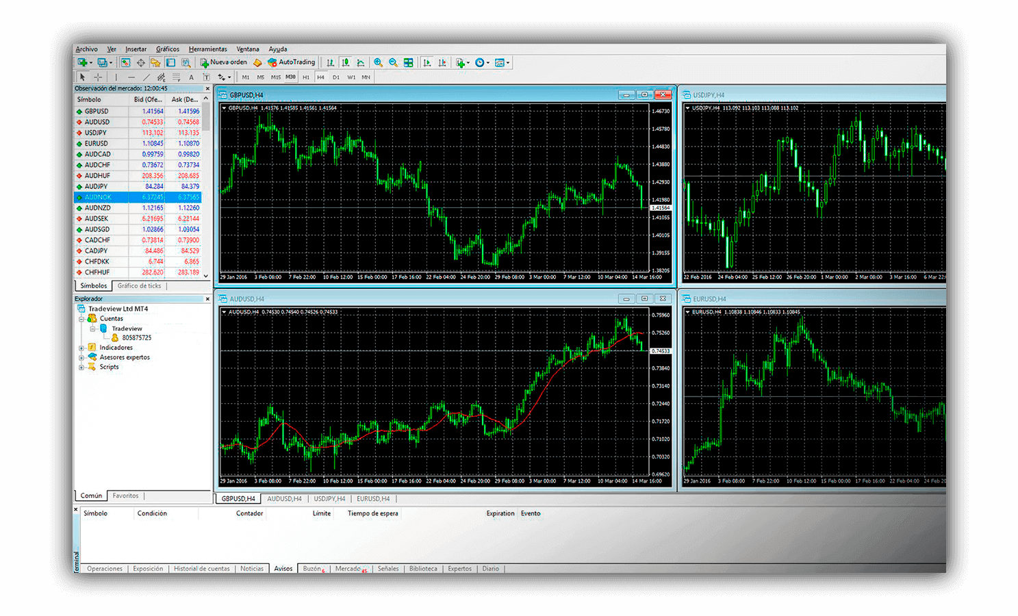 Tradeview's MetaTrader4 software